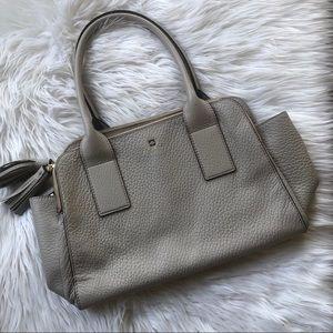 KATE SPADE Gray Pebbled Leather Tassel Handbag